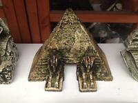 Egyptian pyramid style fish tank ornament