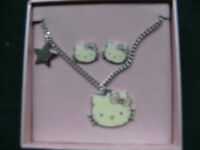 Brand New, Hello Kitty Necklace & Earrings Set. Boxed