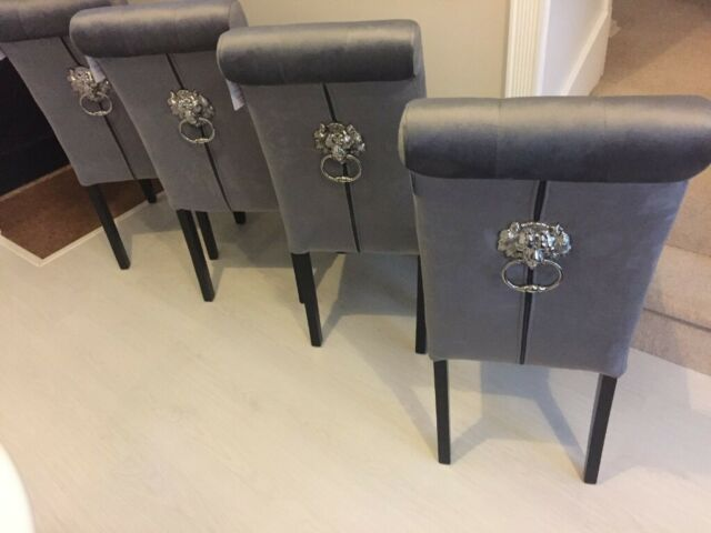 Enjoyable Grey Velvet Dining Chairs X 4 With Lion Knocker On The Back Never Used Brand New In Fulham London Gumtree Gamerscity Chair Design For Home Gamerscityorg