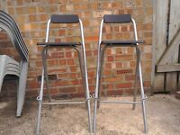 2 x bar stools, black and silver, v good condition