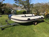 4m Rib and trailer with 5hp Johnson outboard