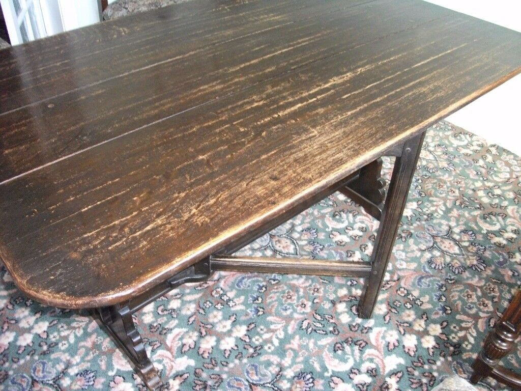 ANTIQUE SOLID OAK DROP LEAF DINING TABLE