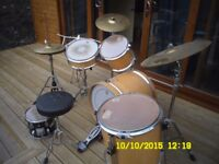 USED DRUMS AND CYMBOLS WITH CASES