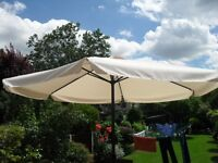 NEW 3.5 METRE BEIGE WIND UP GARDEN PARASOL