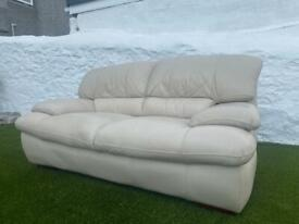 DELIVERY INCLUDED - MODERN IVORY COLOURED TWO SEATER LEATHER SOFA SETTEE