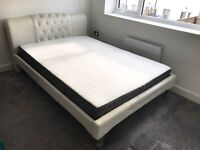 White Double Bed Frame + Double Mattress Included Great Condition Leather Faux Material