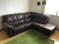 Corner leather sofa and storage footstool