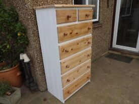 "PINE CHEST OF DRAWERS - 7 DRAWERS - LARGE - 54"" x 29"" x 18"""