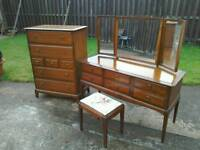 Stag 7 drawer tallboy chest and 6 drawer dressing table+stool