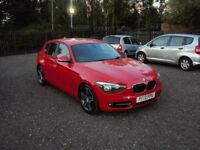 BMW 1 SERIES 116d 2.0 SPORT DIESEL 5DR RED AUTOMATIC F.S.H+KEYLESS+LONG MOT AUX USB BLUETOOTH EXTRAS