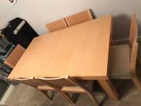 Extending Dining Table With Matching 6 Chairs