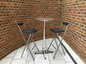 Bar Stools and Bar Table, ideal for in doors or out doors and balconies. Excellent Condition.