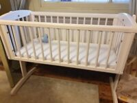 Mothercare white wooden Swing Crib