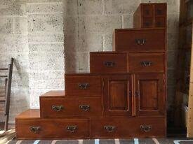 Handmade Indonesian stepped hardwood chest