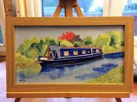 Watercolour of a barge