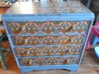 Chest of Drawers, Distressed, William Morris, blue, antiqued, shabby chic, painted