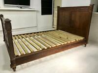 Double bed frame antique cottage French style solid wood wooden dark beautiful carved