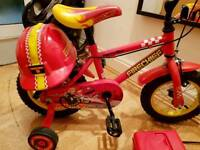 Boys 12inch bike with support wheels and Helmet