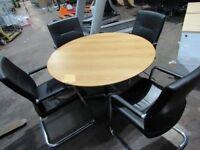 Oak effect circular Meeting Table, 1200mm diameter