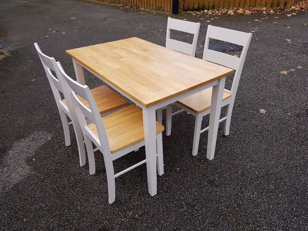 White Oak Ding Table & 4 Chairs FREE DELIVERY 086