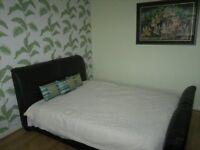 DOUBLE BED FOR SALE BROWN LEATHER BED WITH MEMORY FOAM MATTRESS LIKE NEW !