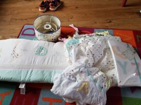 Mothercare sunshine bedcovers, curtains and lampshade