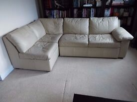 Cream Leather Corner Sofa Bed with large storage compartment