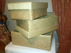 Wicker/Woven Set of 3 Storage Boxes