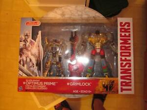 Transformers Silver Knight Optimus Prime and Golden Grimlock
