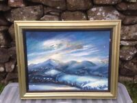 Framed oil painting of Mountains of Mourne by Mary Stuart Shields