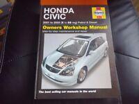 haynes honda civic manual 2001-55 petrol and diesel