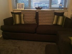 Excellent condition Brown fabric sofa suite 2+3 + footstool