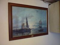 Evening Calm by A.Halk large framed ship/sea scape painting
