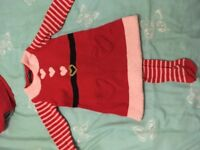 Mother Christmas dress + tights size 18-24months