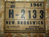 1944 New Brunswick License Plate