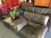 Brown leather sofa and armchair can deliver