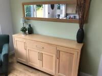 Light oak sideboard and mirror
