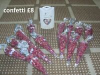 bundle of confetti made up for a wedding never used box frosts (£4.99) cones 50p each box £2.50