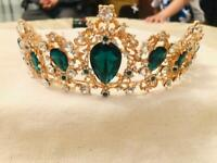 Brand new 18K Yellow gold plated emerald Moroccan bridal crown
