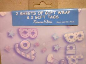Baby boy wrapping paper and tags