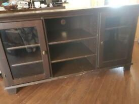Dark wood tv unit
