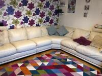 Real leather large corner sofa