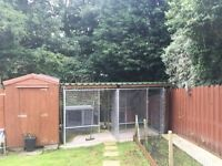 DOG CABIN & GALVANISED PEN WITH ROOF