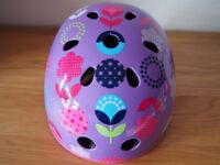 MICRO SCOOTER CRASH HELMET, SIZE SMALL (48-53cm) IN PURPLE FLORAL DOT FINISH, GC, RRP £25