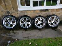 "18"" Devil alloy wheels with good tyres deep dish JDM 5x114.3"
