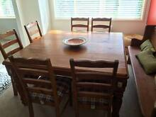Beautiful country style 8 seater square dining table + 7 chairs Hornsby Hornsby Area Preview