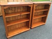 Solid pine bookcases with adjustable height shelves. I can deliver