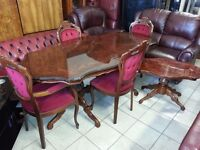 lovely italian dining table and 4 chairs & machine coffee table. excellent condition.
