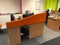 3 Curved orange desk divider/screens 1600mm