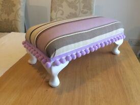 Foot stool - solid wood reupholstered to high standard in lilac colour way.